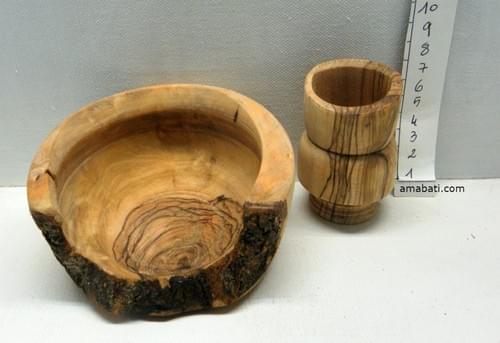 Ensemble Vide-poche et pot en bois d'olivier