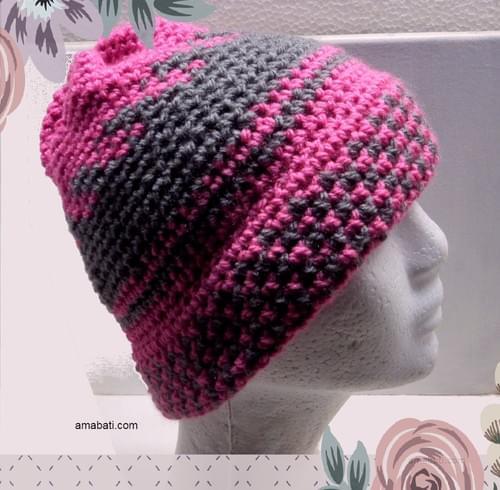 Bonnet rose et gris - L