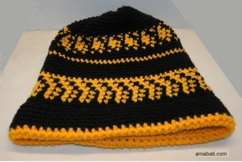 Bonnet noir et jaune -  XL