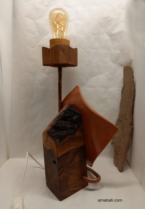 Lampe en bois, céramique et métal - prise secteur