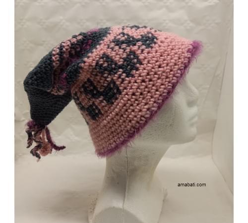 Bonnet lutin en mohair, soie et laine - M