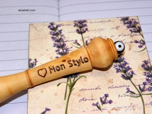 "Stylo en bois de buis - n°6 - Marqué ""coeur + Mon Stylo"""