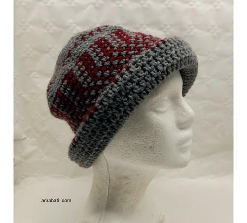Bonnet jacquard bordeaux/gris -  L
