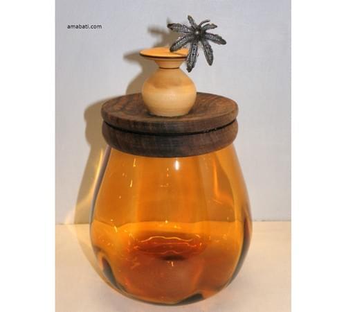 Pot en verre fumé/couvercle en noyer et buis