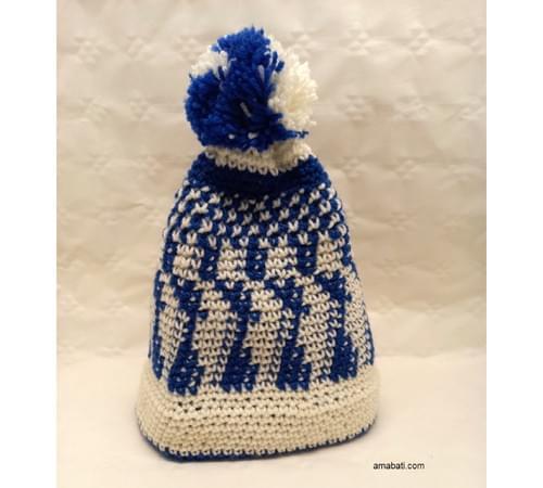 Bonnet jacquard bleu et blanc - S / M