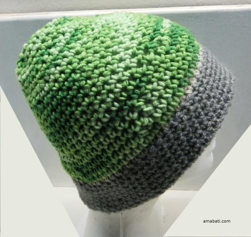 Bonnet gris et vert - XL