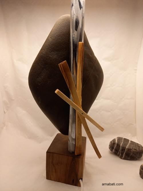 Lampe en bois, béton et métal (prise secteur)