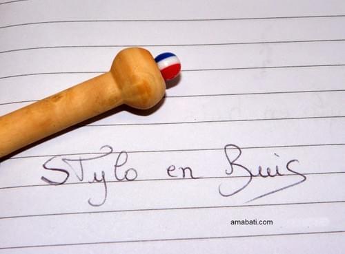 "Stylo en bois de buis - n°7 - Marqué ""coeur + Mon Stylo"""