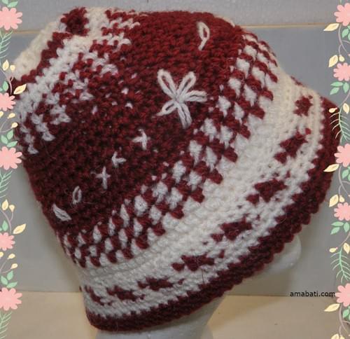 Flocon - Bonnet rouge grenat et blanc - XL