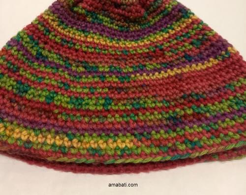 Bonnet multicolore au crochet - XXL