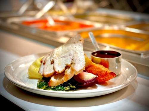 Roast Breast of Turkey, Infused with Thyme and Rosemary, Herb & Butter Stuffing, Creamy Mash Potato,