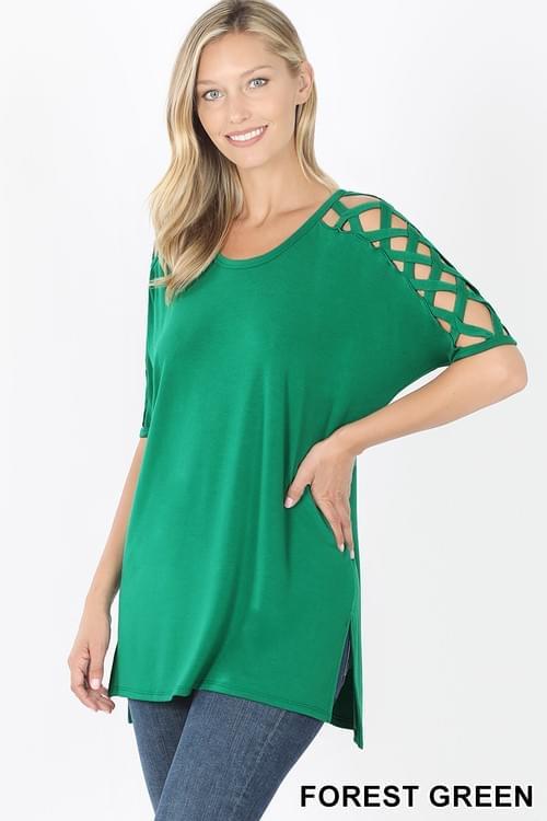 Criss-Cross Shoulder Short Sleeve top