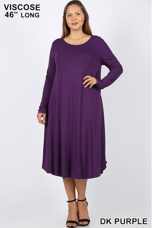 PLUS VISCOSE LONG SLEEVE ROUND NECK DRESS WITH SIDE POCKETS