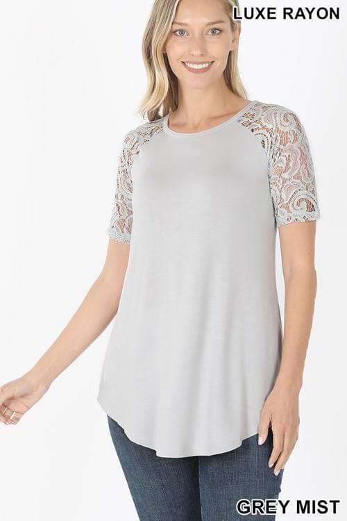 Lace Detailed short sleeve round neck top