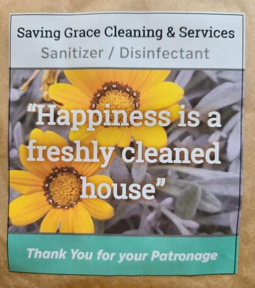 Sanitizer/Disinfectant Saving Grace Cleaning & services.