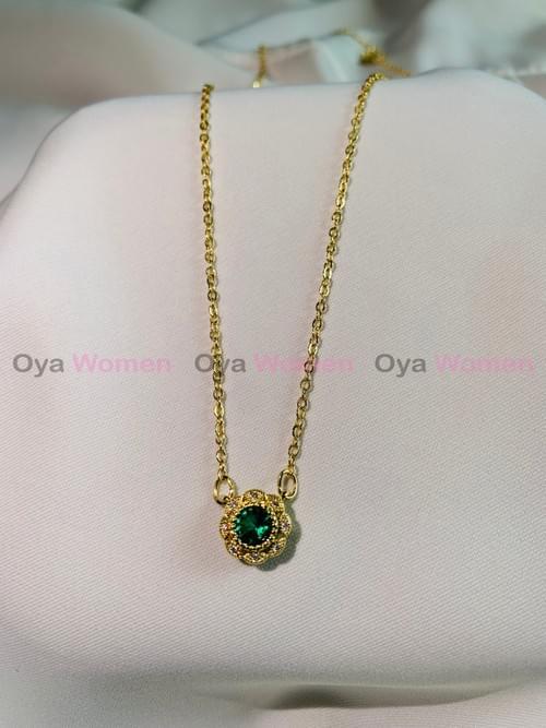Minimalist style dark green stone / wintersweet flower shape
