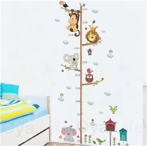 Animal height measure wall paper