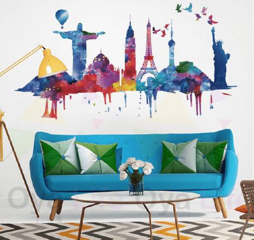 Rio/Paris/London wall paper