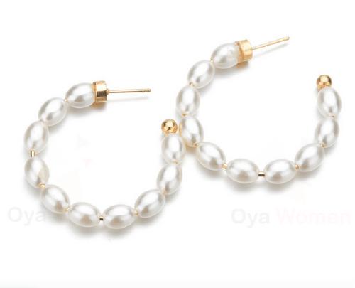 Pearl chain hoops