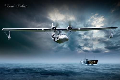 0184 PBY Catalina and RAF rescue boat