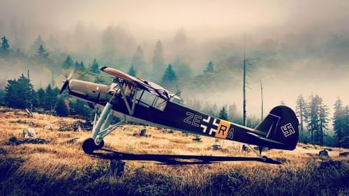 0135 Fieseler Storch on mountain waiting for Hitler