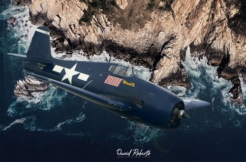 0383 Hellcat over the coast