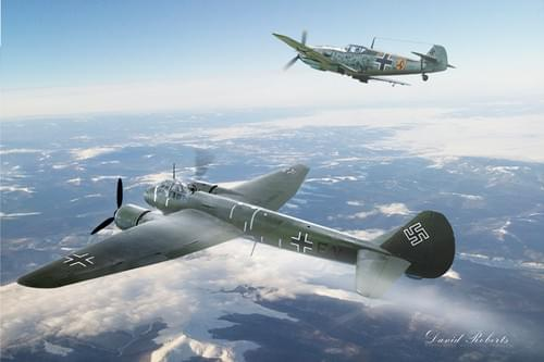 0266 JU88 limping home with Bf109 escort