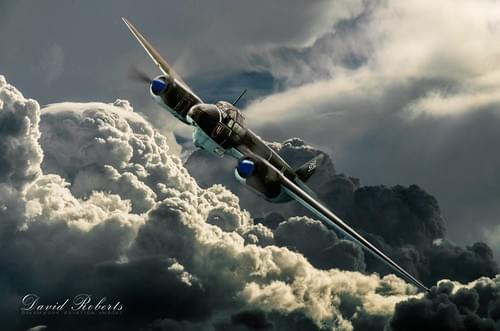 0269 Ju88 and storm clouds