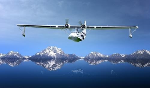 0195 PBY Catalina Flying Boat over lakes