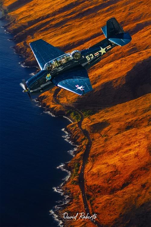 0372 Avenger over red coast