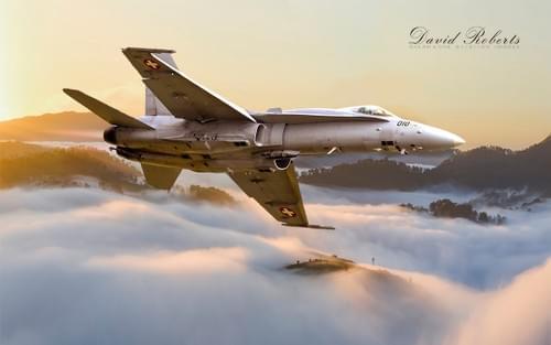 0058 F18 Hornet in valley mist