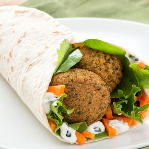 Falafel Wrap Served with Fries and Pop