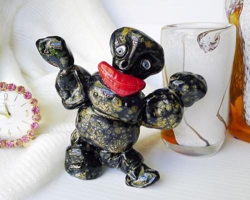 Monster Figurine is Handmade Studio Pottery in Mottled Black and Bronze and Bright Red Lips