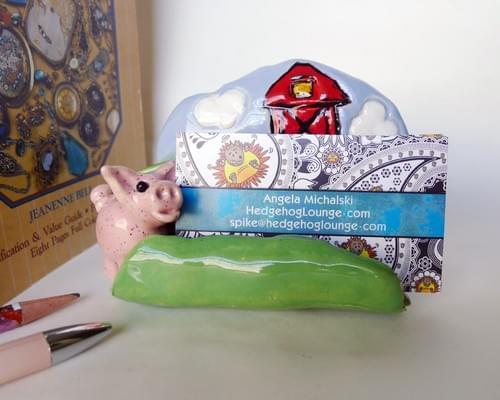 Farm Business Card Holder with Barn and 3D Speckled Pink Pig, Handmade Modern Farmhouse Card Holder
