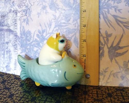Cat Driving Fish Car Salt and Pepper Shakers Authentic Clay Art Pastel Glazes Circa 1985