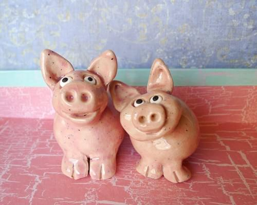 Small Pink Speckled Ceramic Pigs are Handmade Pottery Ready to Ship Sold Individually or as a Set