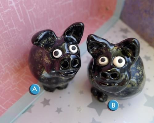 Small Black Ceramic Pigs w Gold and Bronze Splotches are Handmade Pottery and Ready to Ship