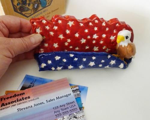American Eagle Patriotic Cartoon Ceramic Business Card Holder One of a Kind
