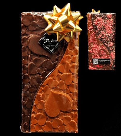 Tablette cœur chocolat noir / chocolat lait caramel avec éclats de Praline Rose 1