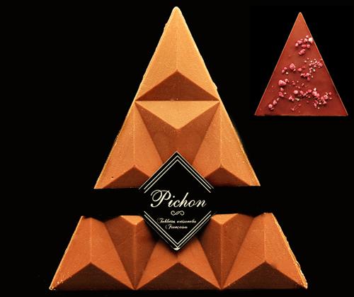 Triangle Chocolat Lait / Caramel et éclats de Praline Rose