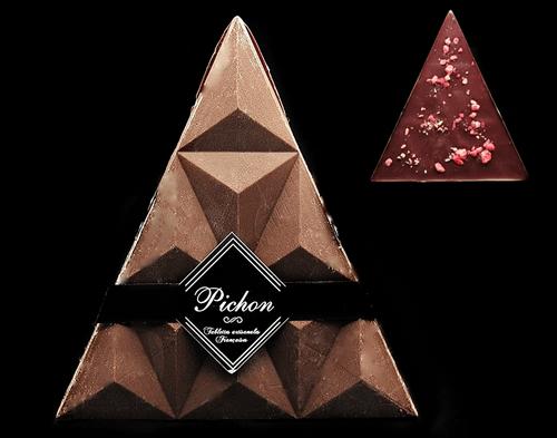 Triangle Chocolat Noir et éclats de Praline Rose