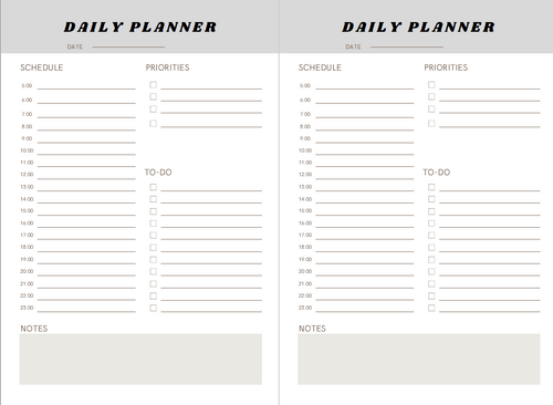 Downloadable PDF Daily Planner Interior 6 by 9 Inches