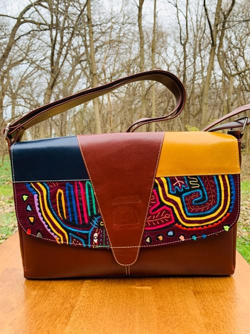 Brown Leather Mola Handbag