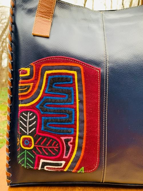 Blue/ Tan Leather Mola Bag