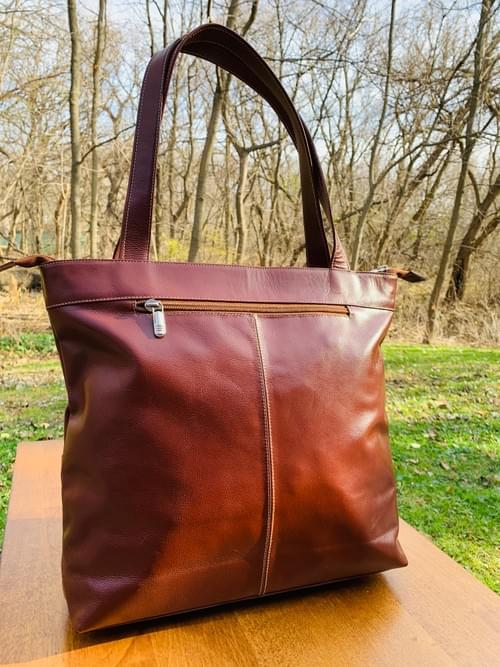 Brown Flower Leather Mola Bag