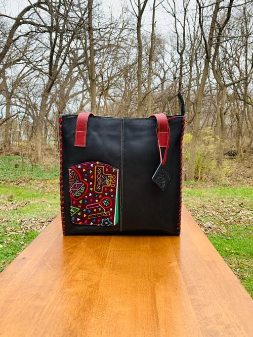 Black / Red Leather Mola Bag