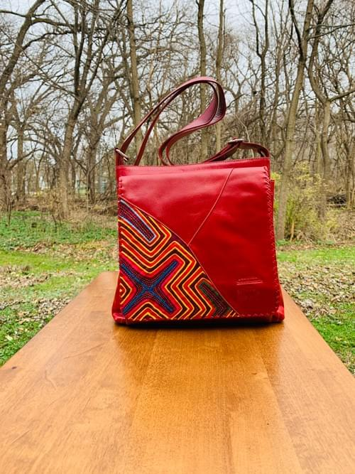 Red Leather Mola Bag
