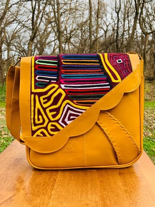 Yellow Leather Mola Bag