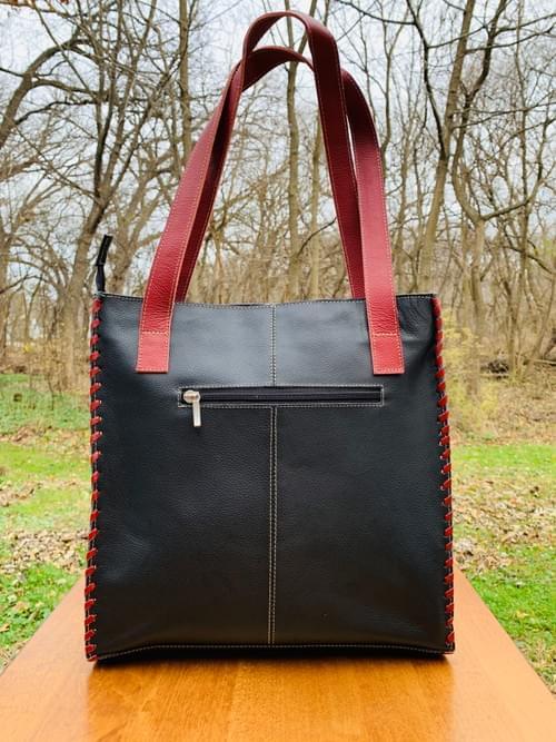 Black / Red Leather Mola Bag