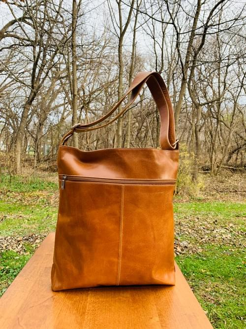Tan Leather Butterfly Bag